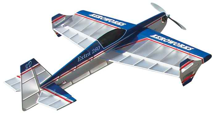 electric rc AeroWorks Extra 260 EP-3D blue plane